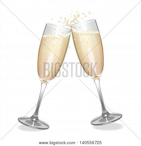 Champagne flutes clinking and making a splash.