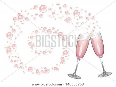 Pink champagne background with flutes clinking together and bubbles and sparkles in a big swirl.