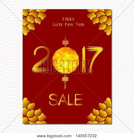 Chinese New Year sale design template. The year of rooster, chinese paper cut arts