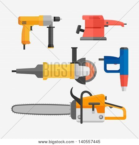 Set of power electric tools isolated on white background. Flat style vector illustration.
