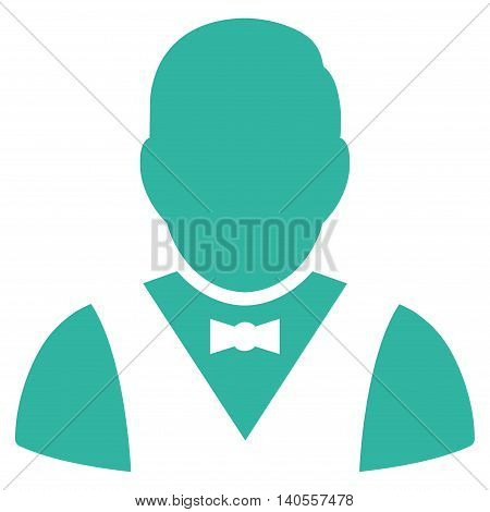 Waiter icon. Vector style is flat iconic symbol with rounded angles, cyan color, white background.