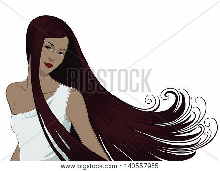 Attractive girl with long, swooping, mahogany hair.