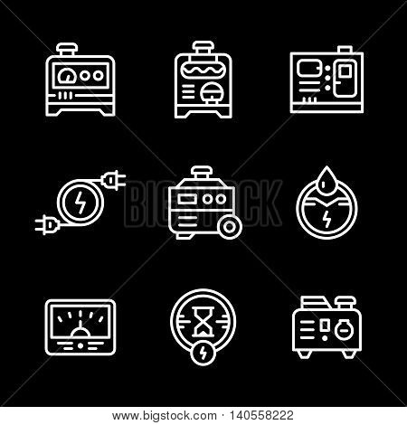 Set line icons of electrical generator isolated on black. Vector illustration