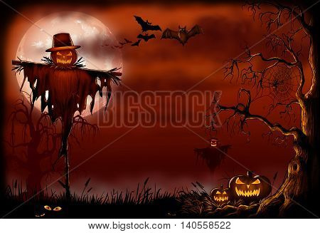 Halloween scene with a evil scarecrow, bats and pumpkins under a creepy tree.