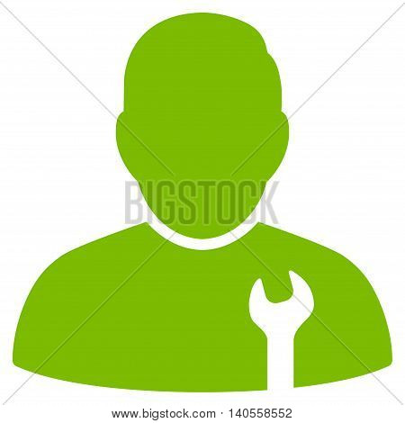 Serviceman icon. Vector style is flat iconic symbol with rounded angles, eco green color, white background.