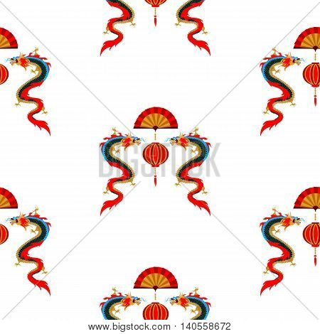 Chinese pattern: spring festival with dragons and Chinese lanterns. It can be used for textile and wrapping paper.