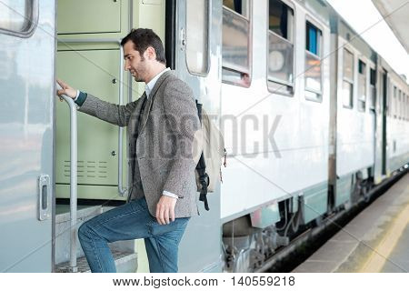 Standing Man Leaving On The Train