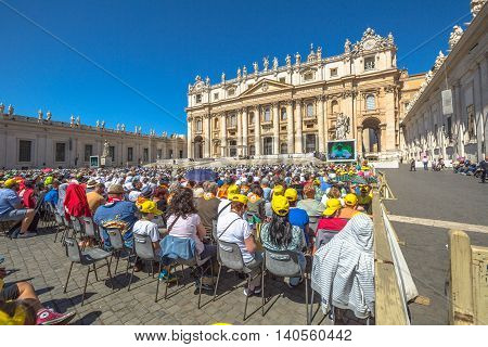Rome, Italy - June 18, 2016: Pope Francesco speaking in Piazza San Pietro for jubilee event. On background, the popular landmark of St. Peter's Basilica.