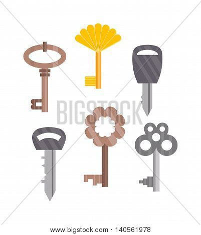 Vintage key door key isolated on white background. Household vintage key. Retro door metal security vintage key and safe house decorative. Decorative key silhouette