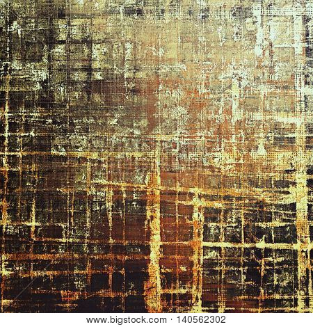 Damaged retro texture with grunge style elements and different color patterns: yellow (beige); brown; gray; black; red (orange)
