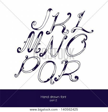 Handdrawn vector font in navy blue and white isolated on white background. Letter sequence from j to r. Hand drawn with brush painted abc letters good for lettering design.