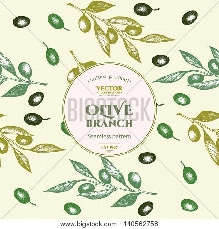 Olive seamless pattern. Hand drawn olive branch background vector illustration