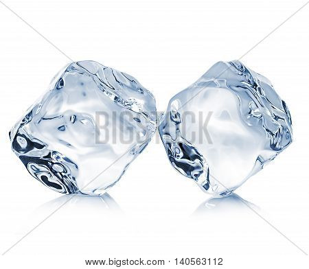 Two Ice Cubes Close-up Isolated On A White Background. Clipping Pats.