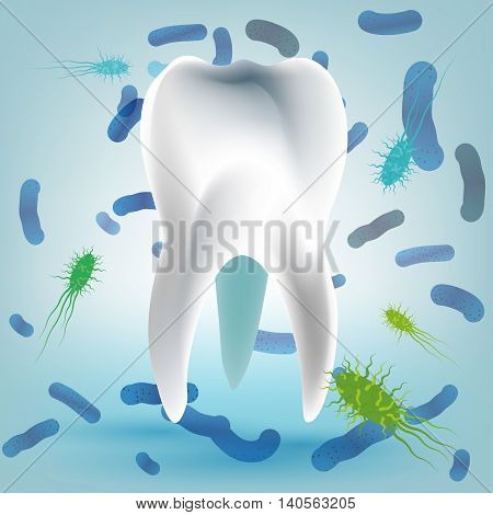 Microscopic bacterias and viruses around tooth in a virtual mouth. Hygiene medical concept. Vector illustration in light blue colors