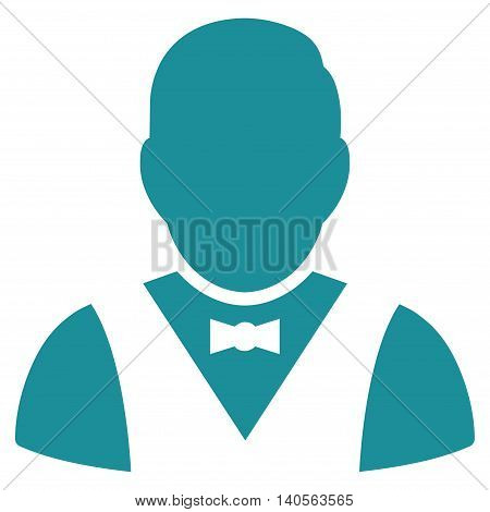 Waiter icon. Vector style is flat iconic symbol with rounded angles, soft blue color, white background.