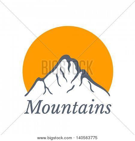 Mountains logo with sun , vector illustration