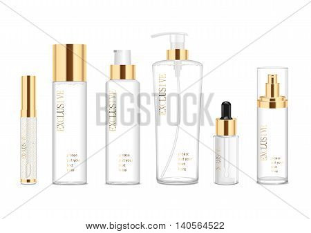 Collection of six cosmetic acrilic tubes isolated on white. Gold and white colors. Modern design. Place for your text. Detailed vector illustration