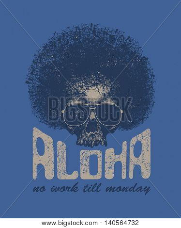 Skull illustration with Hawaiitypography for t-shirt print, vector illustration