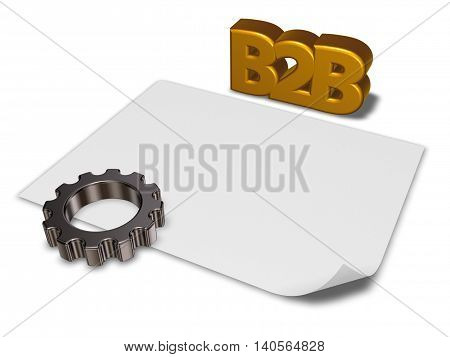 b2b tag and gear wheel - 3d rendering