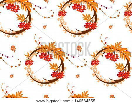 The pattern in the form of a circle formed by the branches and berries of rowan. The pattern in the autumn style on a white background. Also on the background can be seen maple leaves.