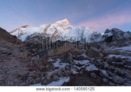 Evening view of Nuptse from Khumbu Glacier near Gorak Shep Solukhumbu Nepal.