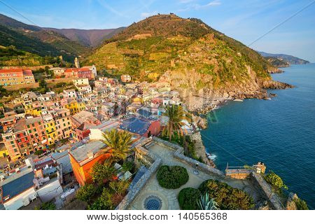 Vernazza town on the coast of Ligurian Sea, Italy