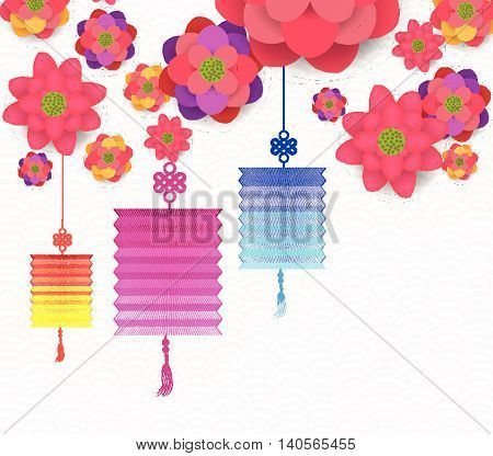 Oriental Happy Chinese New Year Blooming Flowers Design