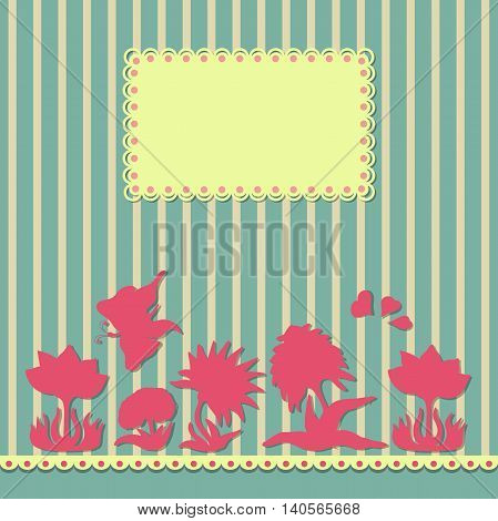 Vintage flowers, border, hearts and butterfly abstract  background. Design for banner, workbook, brochure.  Vector illustration.