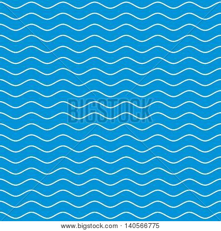 Wavy line seamless pattern. White wave lines on blue background. Ripple marine texture. Waviness vector graphics.