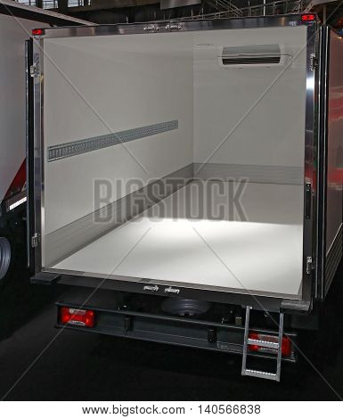Open Back Doors at Empty Refrigerated Delivery Truck