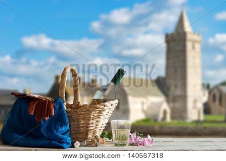 Picnic in Front of old Church in the Normandy