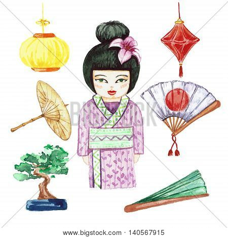 Set Japanese traditional subjects. Japanese woman umbrella fan paper lantern bonsai. Watercolor set of objects on a white background isolation.