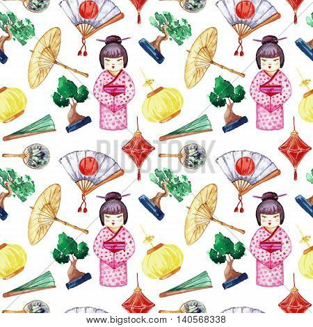 Japanese seamless pattern. Background with Japanese girl and different objects of Japanese culture.