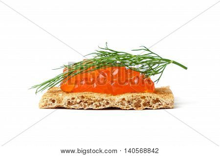 Snack with red caviar isolated on white background