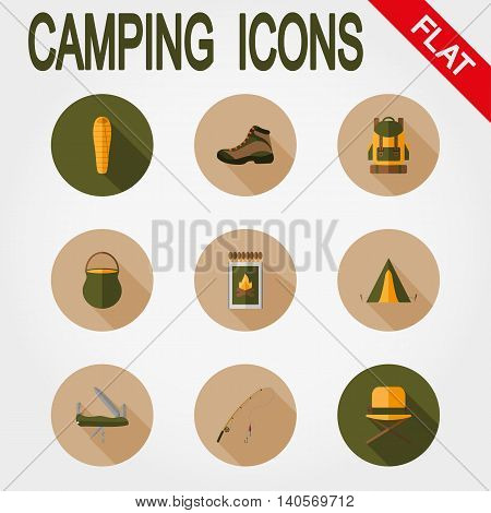 Hiking icon set for web and mobile application. Vector illustration on a white background. Flat design style.