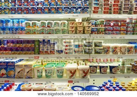 KUALA LUMPUR, MALAYSIA - CIRCA MAY, 2016: inside of a grocery store in Kuala Lumpur. A grocery store is a retail store that primarily sells food.