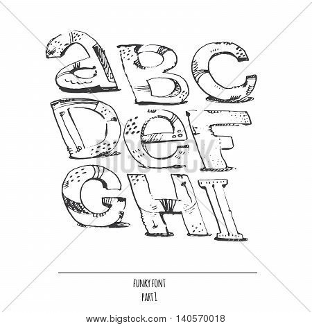 English hand drawn funky font from a to i. Calligraphy made with nib. Decorated grunge alphabet painted in freehand style. Isolated on white background vector illustration