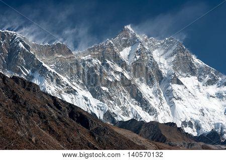 The South Face of Mt. Lhotse from Pheriche Pass Solukhumbu Nepal
