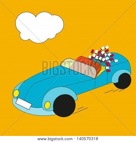 Blue retro car In the back seat of cabriolet lay a bouquet of red and white roses Orange background