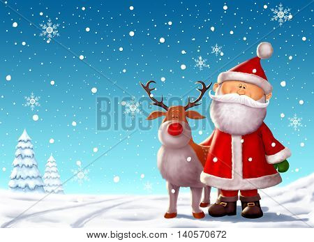 Digitally painted, cute Santa Clause with Rudolph in a snowy scene.
