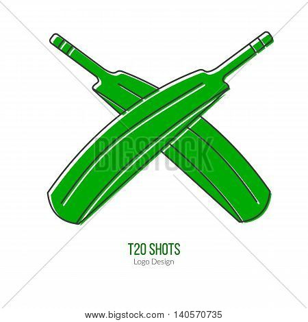 Green Cricket bats. Single logo in modern flat and thin line style isolated on white background. Outline cricket game symbol. Simple mono linear pictogram. Stroke vector logotype template.