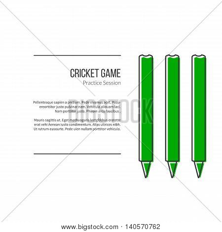 Green Cricket stamps. Single logo in modern flat and thin line style isolated on white background. Outline cricket game symbol. Simple mono linear pictogram. Stroke vector logotype template.
