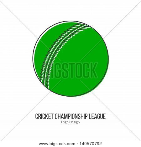 Cricket ball. Single logo in modern flat and thin line style isolated on white background. Outline cricket game symbol. Simple mono linear pictogram. Stroke vector logotype template.