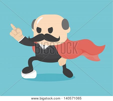Business concept cartoon illustration super businessman showing confidence Big Boss