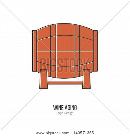 Oak wine barrel. Single logo in modern flat and thin line style isolated on white background. Outline winery symbol. Simple mono linear pictogram. Stroke vector logotype template.