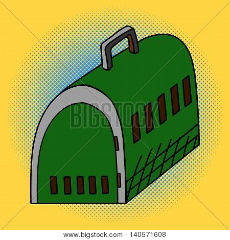 Pet travel plastic cage, isolated. Pop art vector illustration. Beautiful comic style. Hand drawn