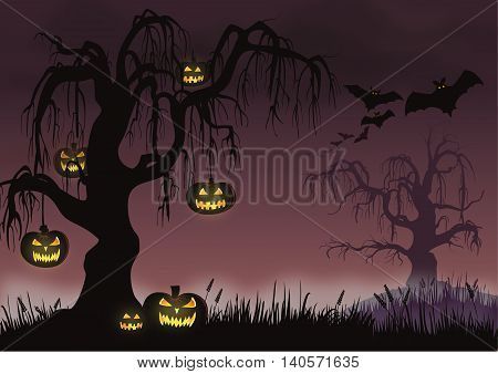 Vector Halloween scene with pumpkins hanging from a creepy tree.