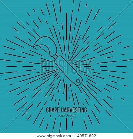 Grape hook harvesting knife with star burst. Single logo in modern thin line style isolated on blue background. Outline winery symbol. Simple mono linear pictogram. Stroke vector logotype template.