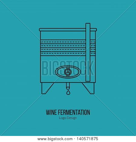 Stainless steel wine tank. Single logo in modern thin line style isolated on blue background. Outline winery symbol. Simple mono linear pictogram. Stroke vector logotype template.