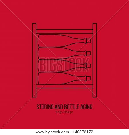 Wine storage cellar with wine bottles. Single logo in modern thin line style isolated on red background. Outline winery symbol. Simple mono linear pictogram. Stroke vector logotype template.